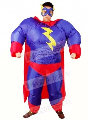 Fat Superman Purple Superhero Inflatable Halloween Xmas Costumes for Adults
