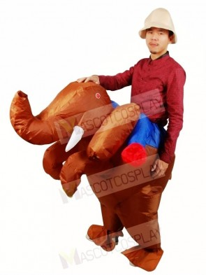 Ride on Brown Elephant Inflatable Halloween Xmas Costumes for Adults