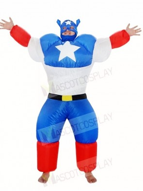 Captain America Super Hero Inflatable Halloween Blow Up Costumes for Adults