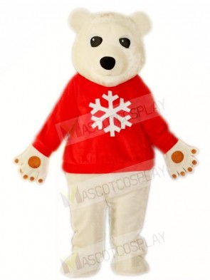 Red Shirt White Polar Bear Mascot Costumes Animal