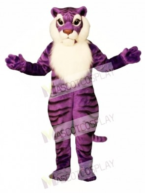 Cute Purple Tiger Mascot Costume