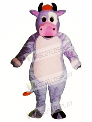 Cute Purple Cow Mascot Costume