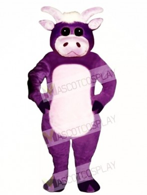Cute Purple Bull Mascot Costume