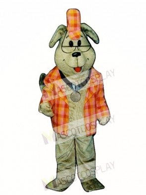 Cute Inspector Dog with Outfit Mascot Costume
