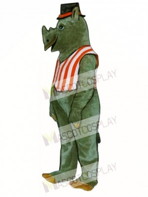 R.I. Nocerous Rhino with Vest & Hat Mascot Costume