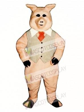Cute Pierre Pig with Vest, Tie & Collar Mascot Costume