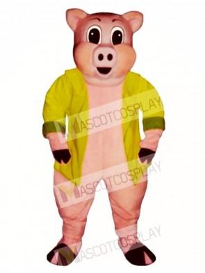 Big Pig with Jacket Mascot Costume