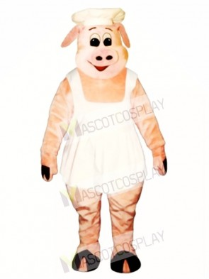 Chef Oink Pig Hog with Apron & Hat Mascot Costume