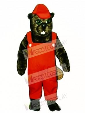 Lumberjack Beaver with Overalls & Hat Mascot Costume