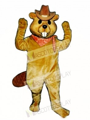 Western Beaver with Hat & Neckerchief Mascot Costume