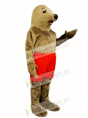 Cute Sunning Seal with Shorts Mascot Costume