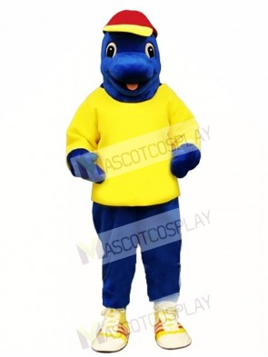 Cute Blue Fish with Shirt & Hat Mascot Costume