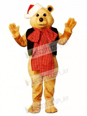 Cute Fancy Bear with Vest, Bowtie & Hat Christmas Mascot Costume