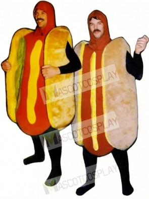 Hot Dog with Relish(on left) Mascot Costume