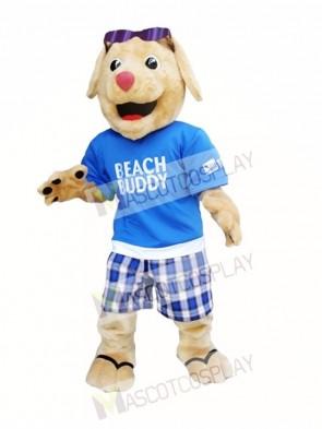 Dog with Sunglasses Mascot Costume Beach Buddy Dog Mascot Costume