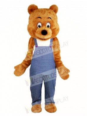 Brown Bear in Overalls Mascot Costumes Animal