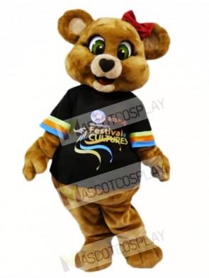 Green Eyes Brown Female Bear Mascot Costumes Animal