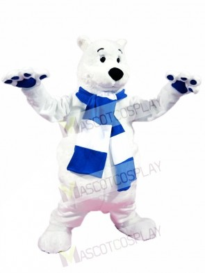 Blue and White Scarf Polar Bear Mascot Costumes
