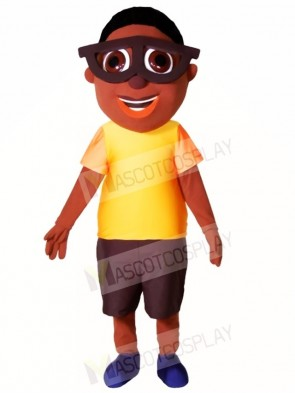Black Boy with Glasses Mascot Costumes People