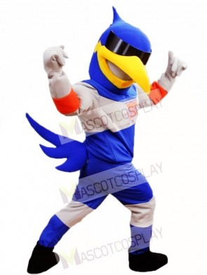 Blue Bird with Sunglasses Mascot Costumes