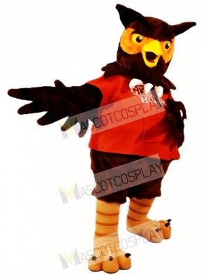 Red Shirt Brown Owl Mascot Costumes Animal