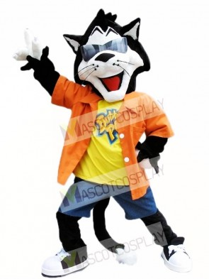 Black Cat with Sunglasses Mascot Costumes Animal