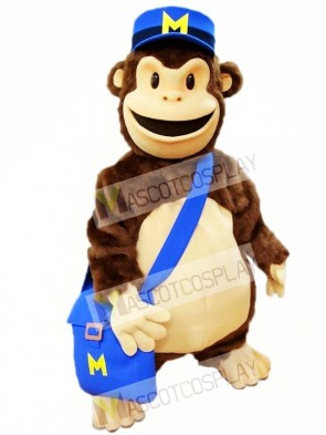 Cartoon Chimp with Blue Hat Mascot Costumes Animal