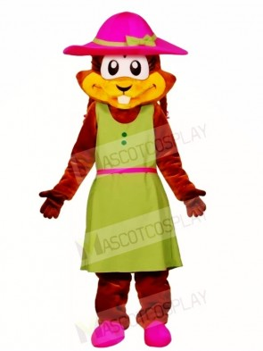 Chipmunk in a Green Dress Mascot Costumes Animal