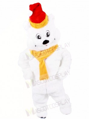 Red Hat Polar Bear with Yellow Scarf Mascot Costumes Animal Xmas