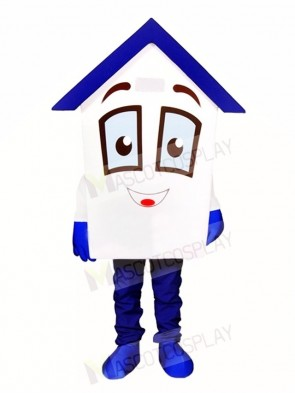 Blue Roof House Home Mascot Costumes For Real Estate Agency Promotion