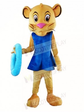 Lifeguard Female Lion Cougar in Blue Dress Mascot Costumes Animal