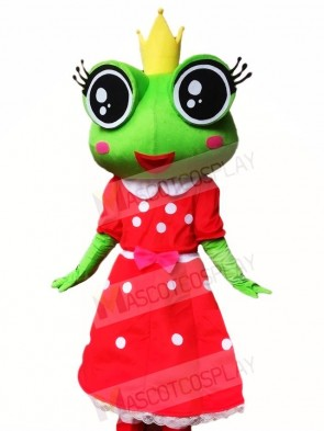 Frog Princess in Red Dress Mascot Costumes Animal