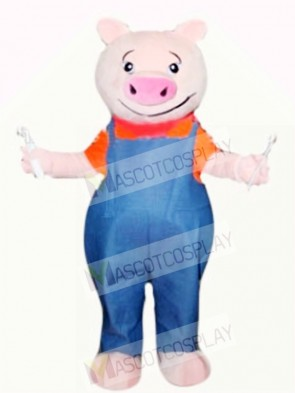 Funny Pig with Blue Overalls
