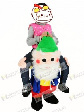 For Children/ Kids Back Shoulder Garden Gnome Carry Me Mascot Ride Costume Christmas Outfit