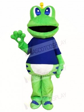 Frog Mascot Costumes in Blue Shirt