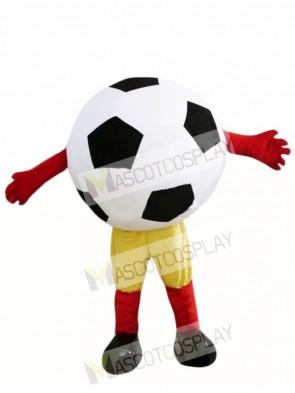 Black Ball Football Mascot Costumes with Yellow Shorts