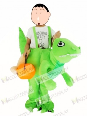 Children/ Kids Piggyback Carry Me Ride on Green Dinosaur Dragon Mascot Costume