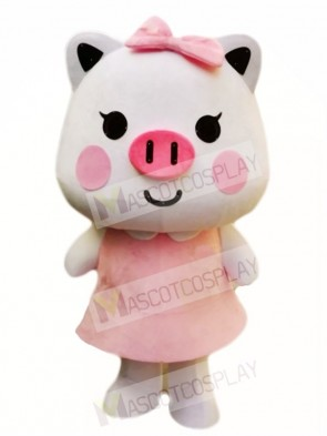 Pink Pig with Bow Mascot Costumes Cartoon