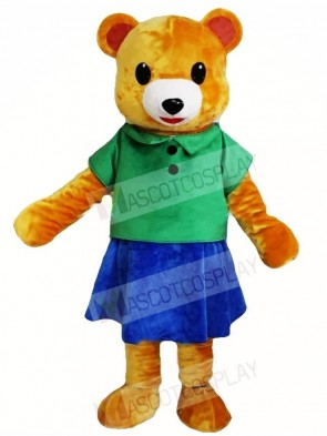 Brown Bear in Green Shirt and Blue Skirt Mascot Costumes Animal
