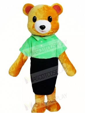 Brown Bear in Green Shirt and Black Skirt Mascot Costumes Animal