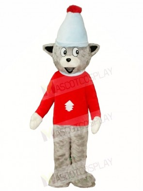 Gray Christmas Bear in Red Shirt Mascot Costumes Animal
