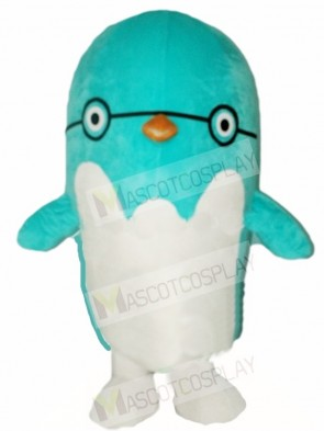 Blue Bird Penguin with Glasses Mascot Costumes Animal