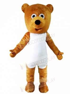 White Belly Brown Teddy Bear Mascot Costumes Animal