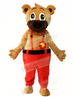 Brown Bear in Red Overalls Mascot Costumes Animal