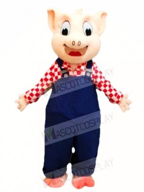 Blue Overalls Pig Mascot Costumes Animal