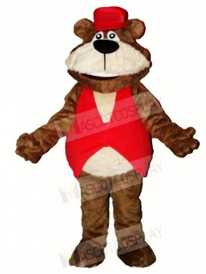 Brown Bear in Red Hat Mascot Costumes Animal