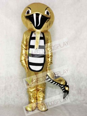 Golden Rattle Cobra Snake Mascot Costume Reptiles