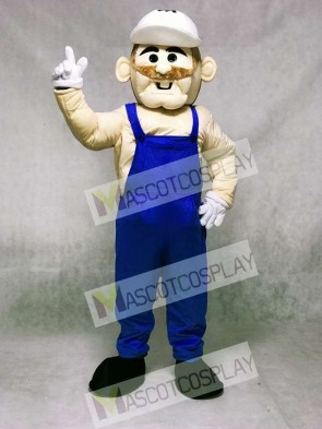 Miner with Blue Overalls Mascot Costume