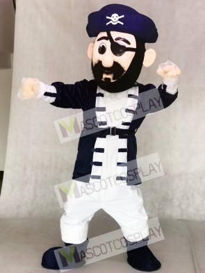 Captain Blythe Pirate Mascot Costumes in Navy Blue