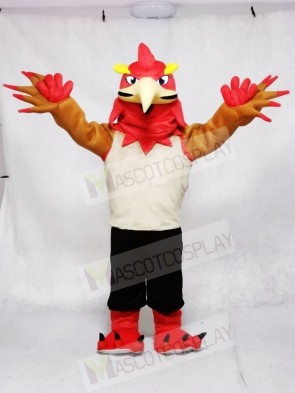 Red Phoenix in Vest and Shorts Mascot Costumes Animal
